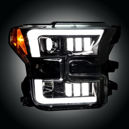 2015 2017 Ford F150 Recon Smoked Black Projector Headlights