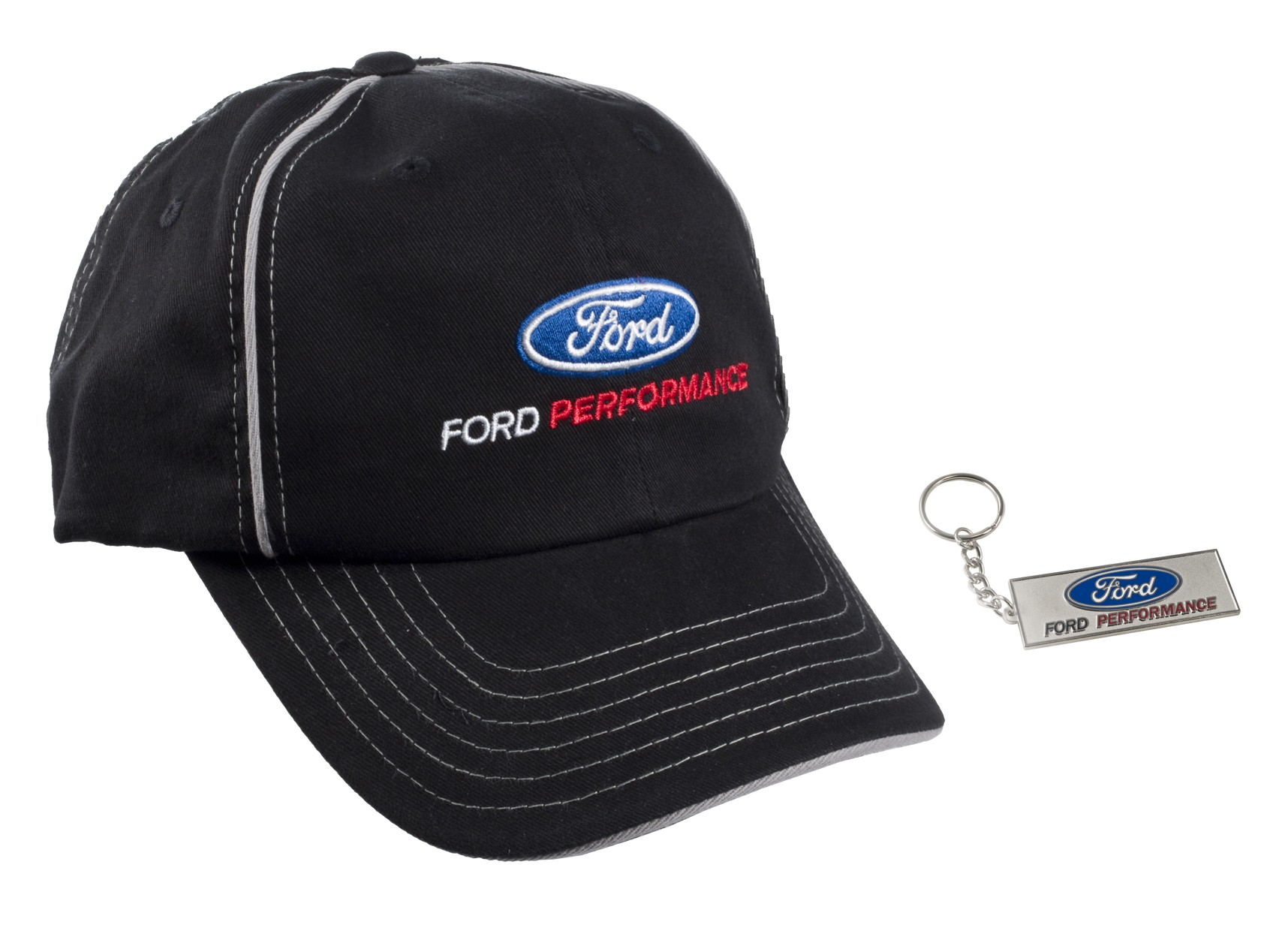 85b05a8cf Ford Performance Oval Logo Black & Silver Adjustable Hat Cap w/ Keychain