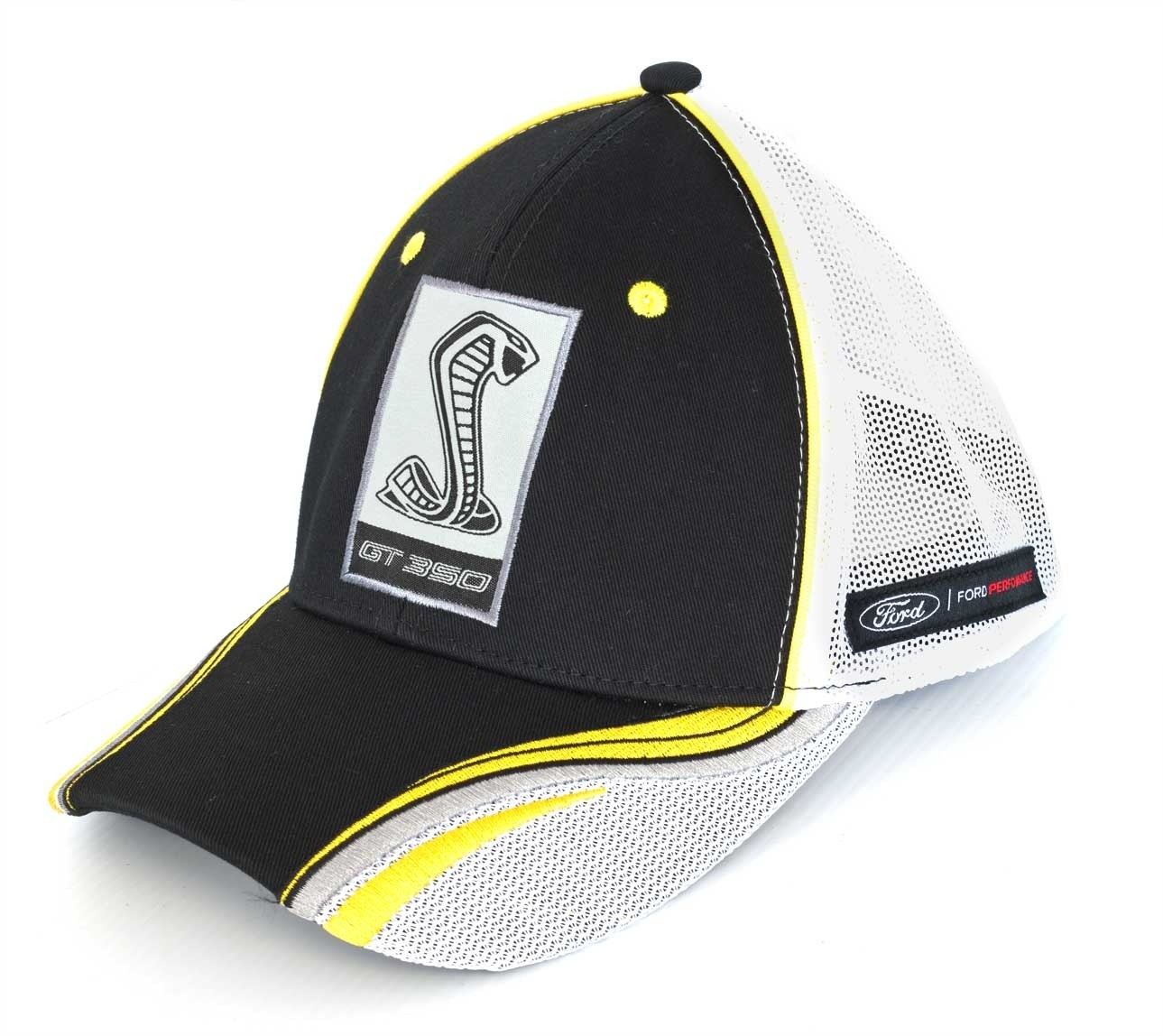 Ford Mustang Shelby GT350 Embroidered Black & Yellow Adjustable Baseball Hat Cap