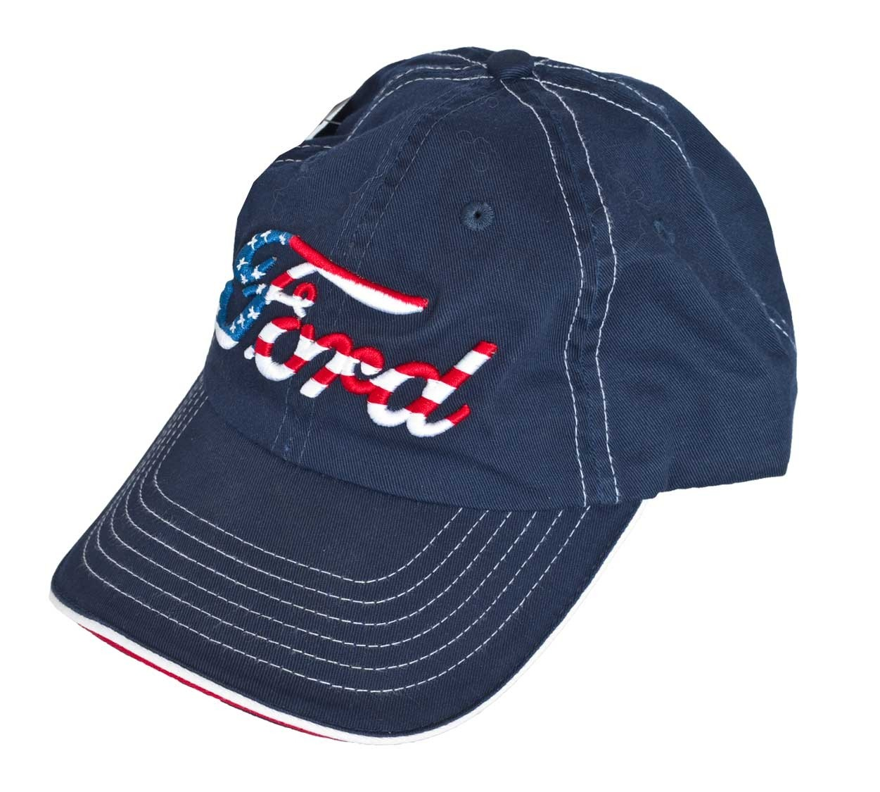 Ford American Flag Script Embroidered Red White & Blue Adjustable Baseball Hat Cap