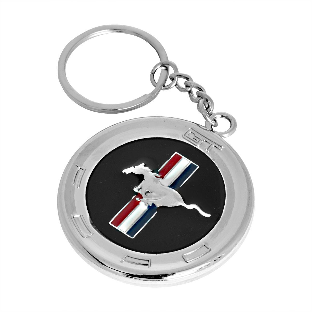"""Ford Mustang GT Metal Double Sided Tribar Running Horse Emblem 2"""" Key Chain Ring"""