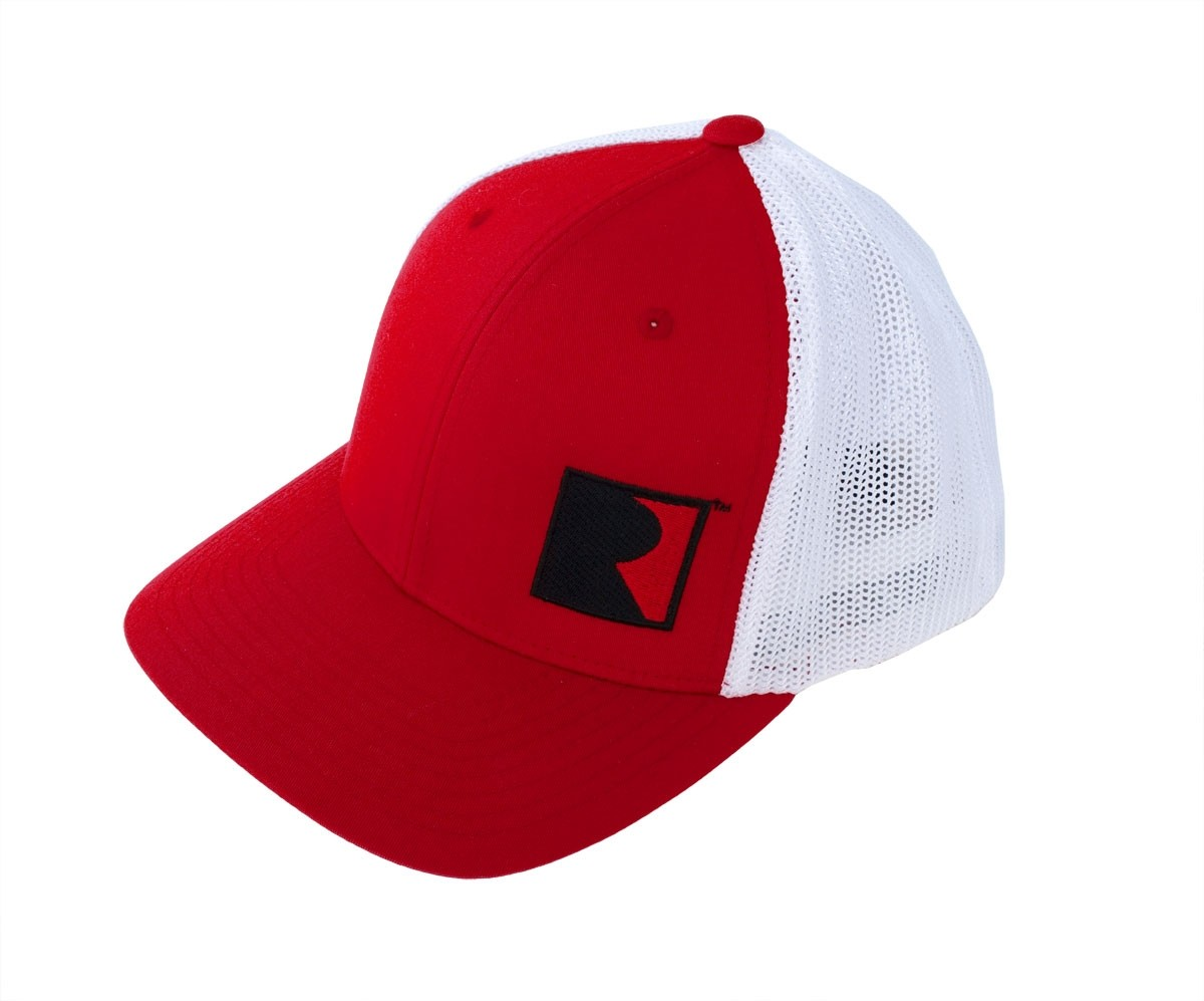 Roush Performance Embroidered R Logo Red & White Flexfit Mesh Hat Cap