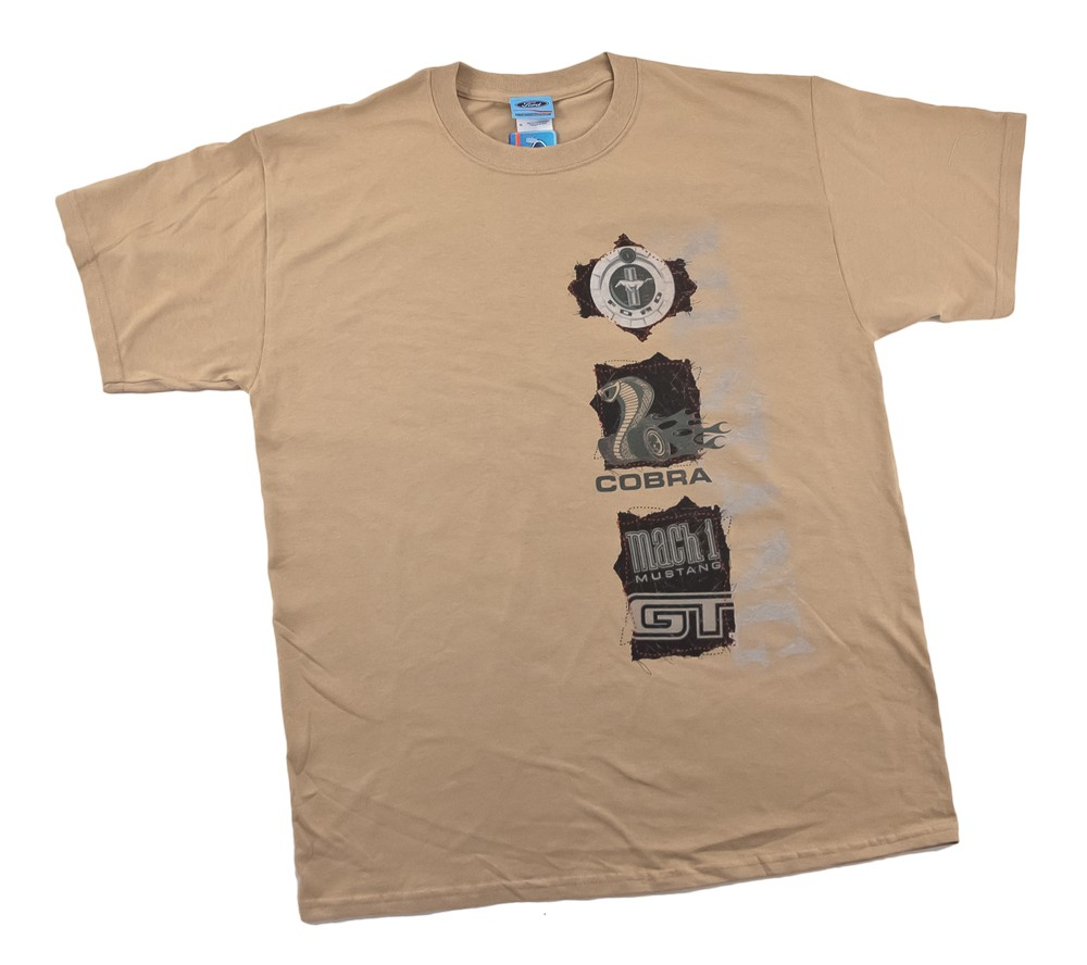 Men's Tan Mustang Cut-Out Badges T-Shirt