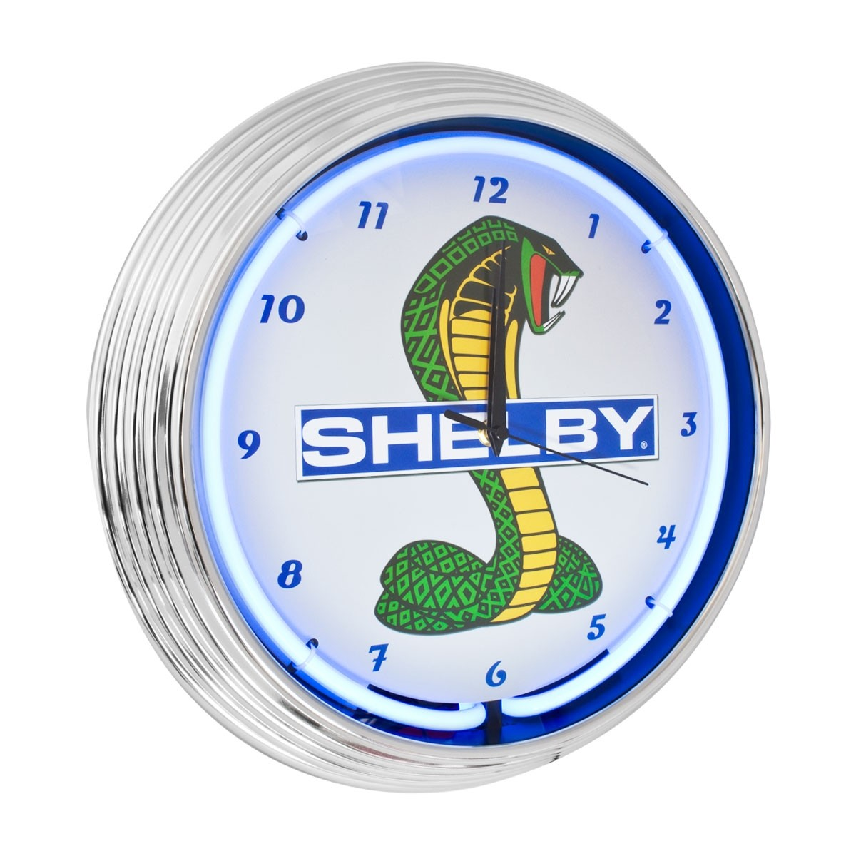 Ford Shelby Cobra Mustang Neon Garage Man Cave Wall Clock Chrome Trim w/ Blue Illumination