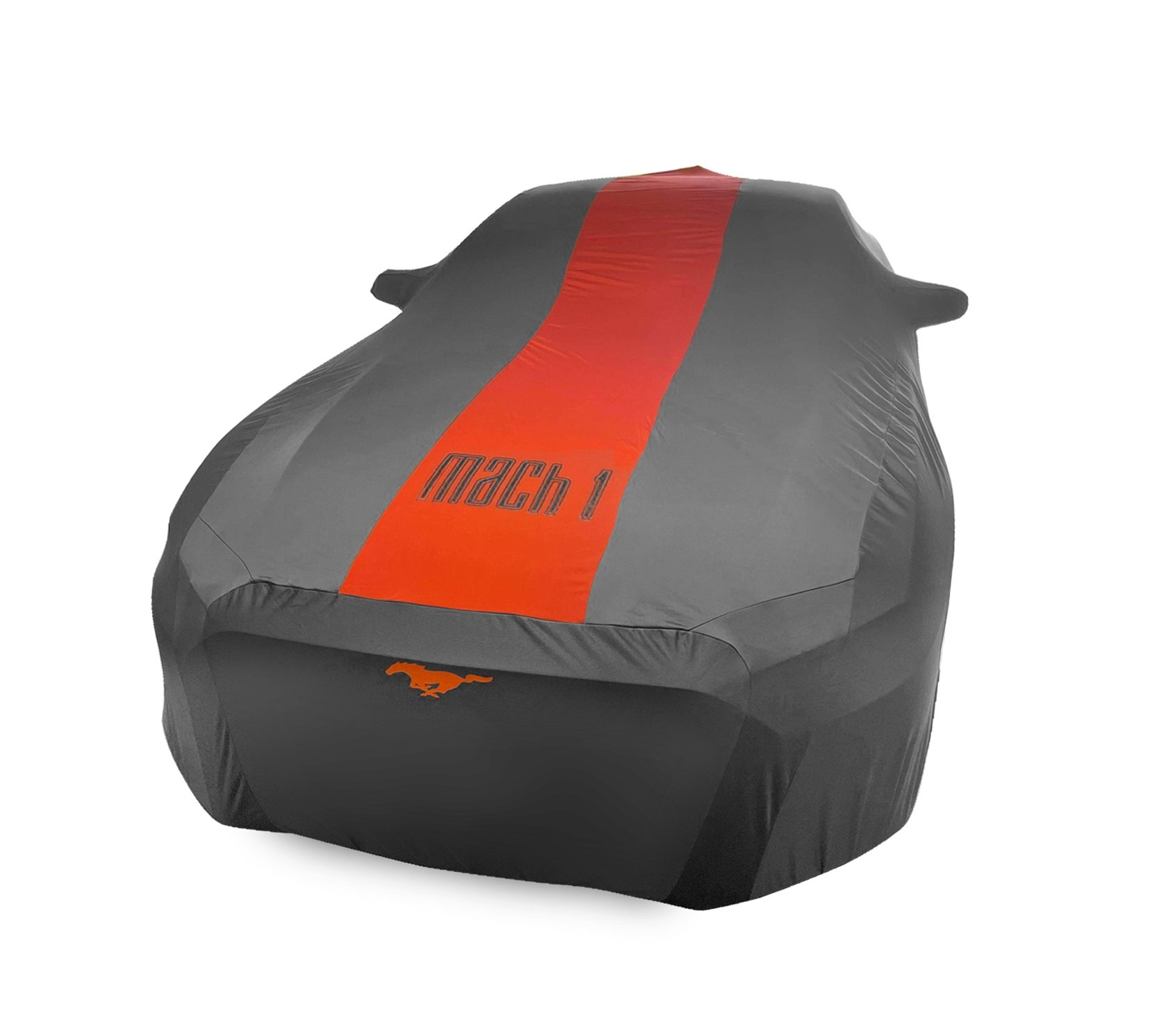 2021 Mustang Mach 1 Small Wing OEM Genuine Ford Indoor Car Cover Grey & Orange