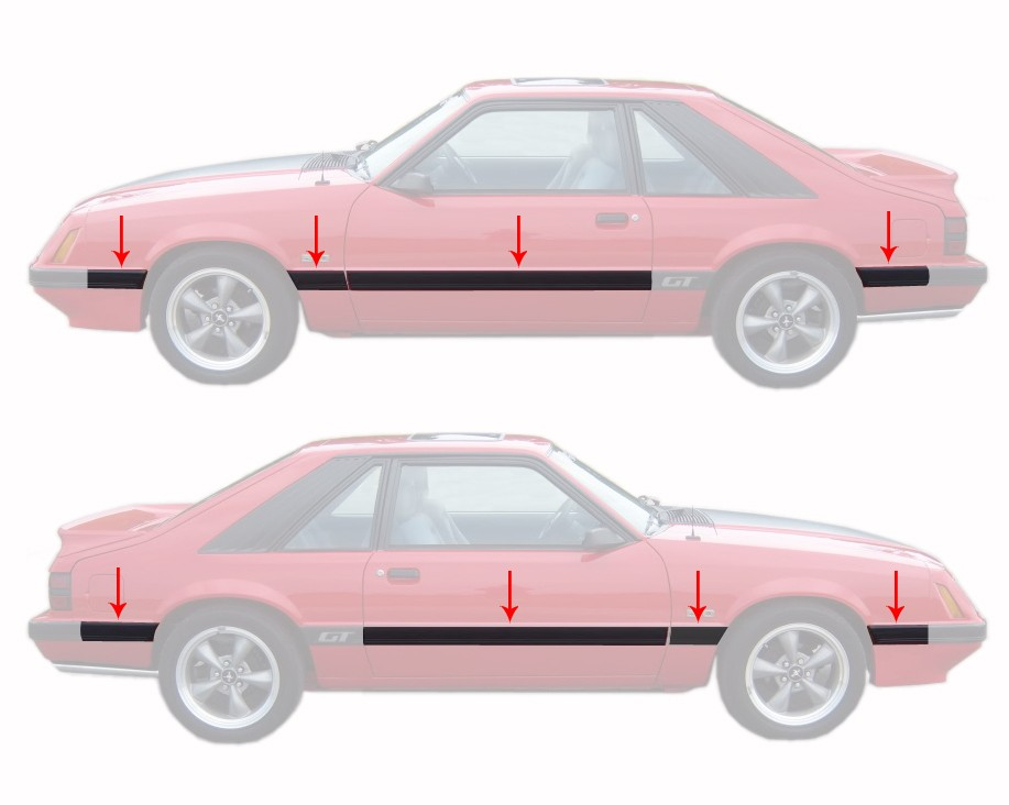 1985-1986 Ford Mustang GT 8 Piece Body Side Moldings Mouldings Kit - 1979-1993 Mustang