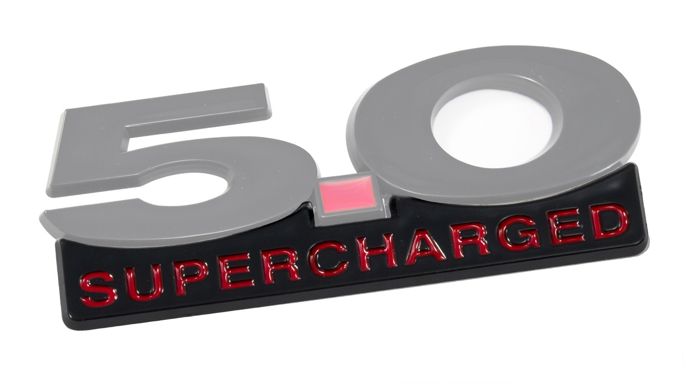 """2011-2014 Mustang 5"""" Black & Red Supercharged Fender Lower Emblem Accent"""
