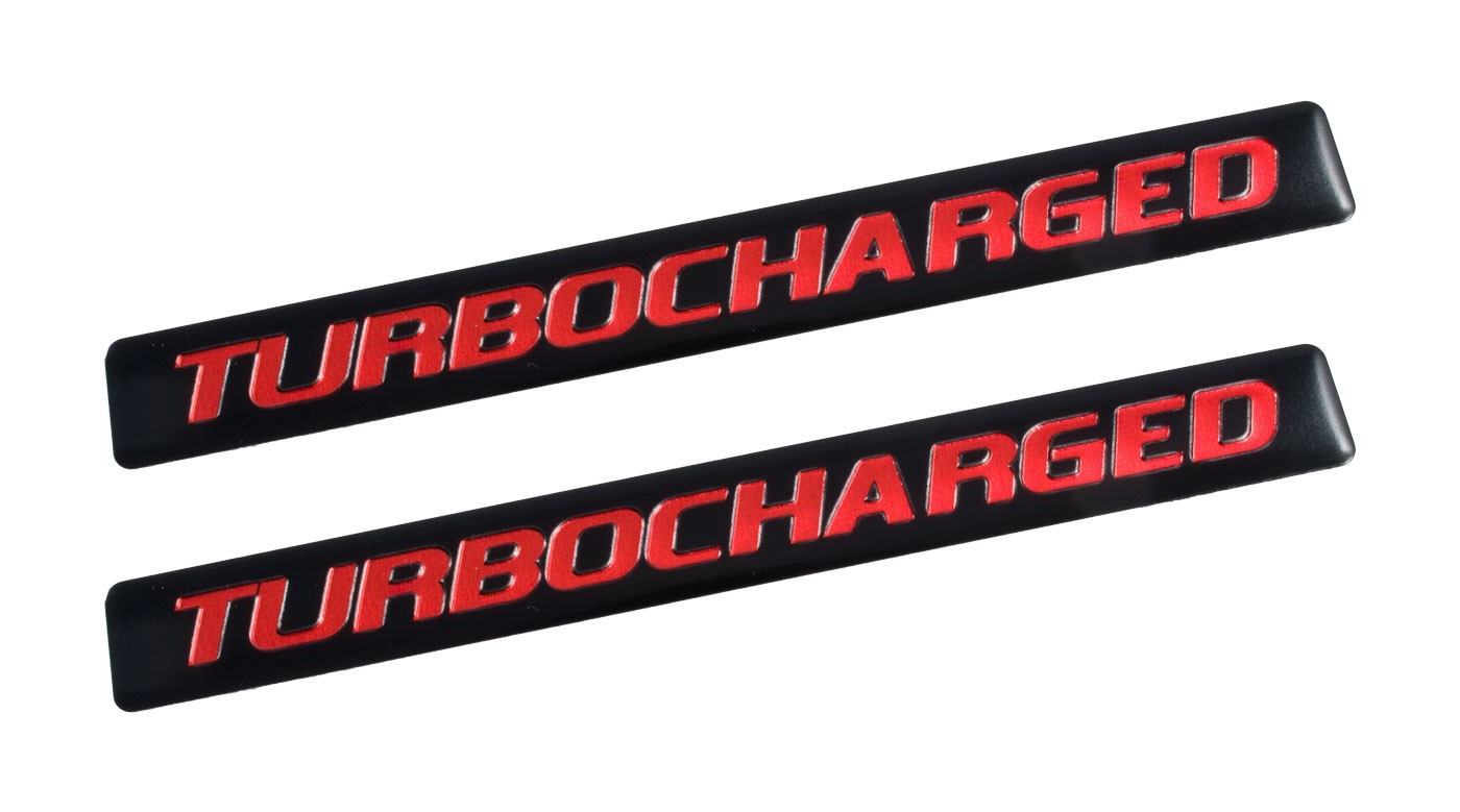 "Ford Mustang F150 Truck 5"" Turbocharged Black & Red Emblems - Pair"