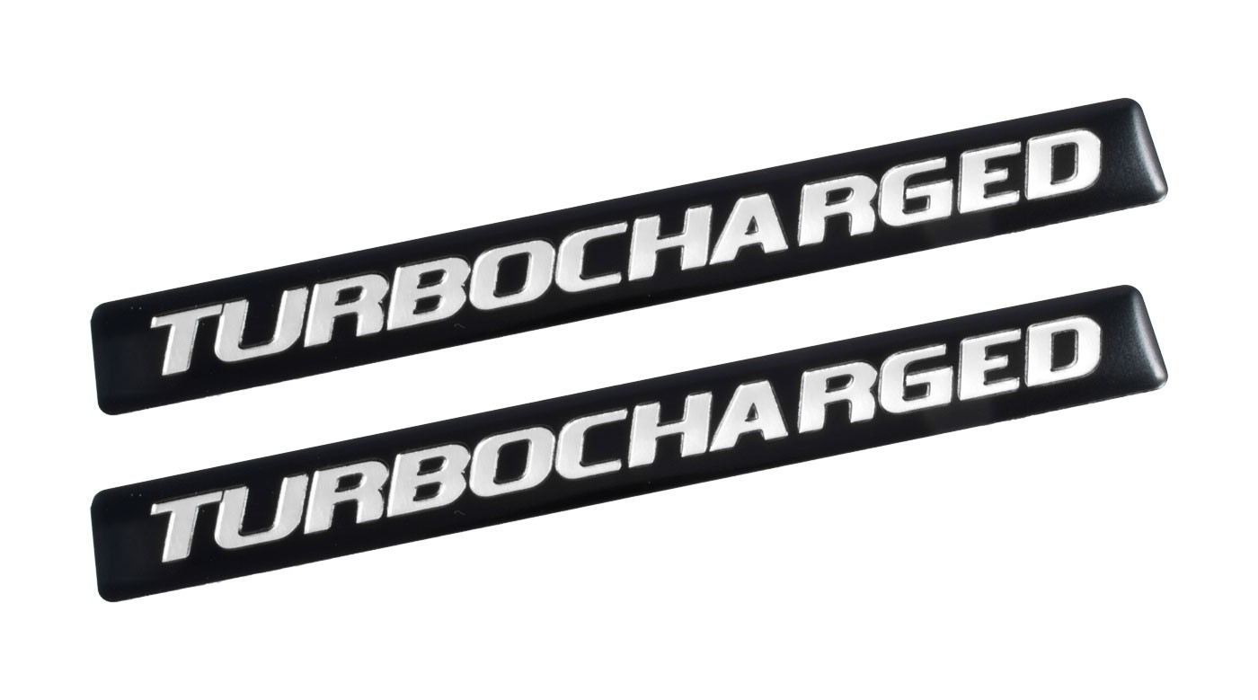 "Ford Mustang F150 Truck 5"" Turbocharged Black & Silver Emblems - Pair"