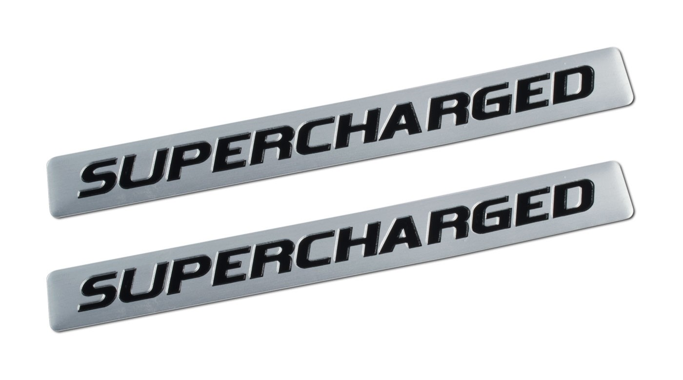 """Ford Mustang F150 Truck 5"""" Supercharged Silver & Black Emblems - Pair"""