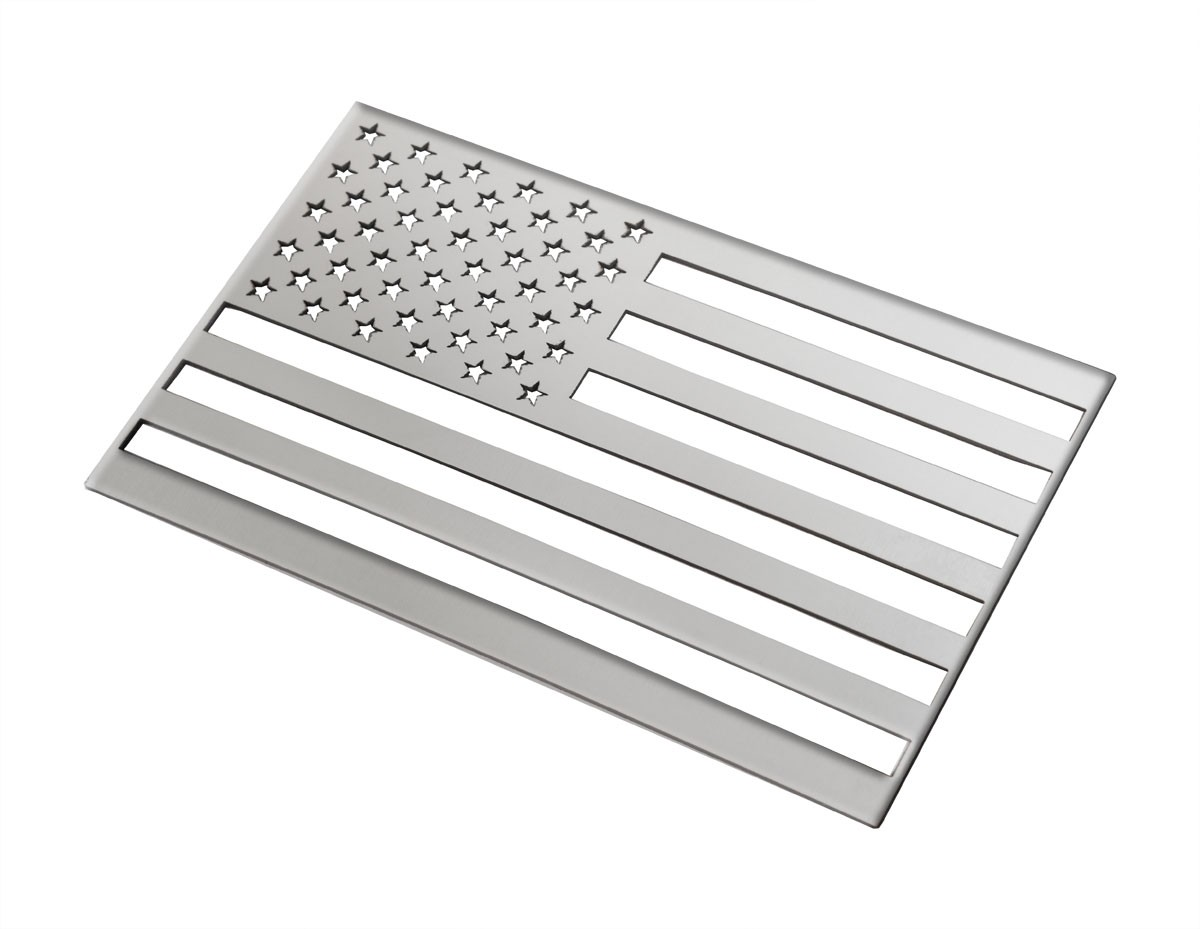 "American Flag Emblem Polished Stainless Steel 6"" x 3.75"""