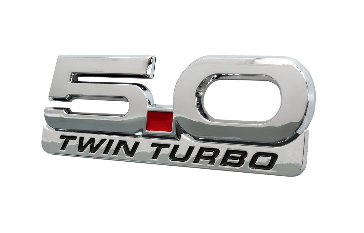 """2015-2021 Mustang 5.0 Twin Turbo 5.25"""" Fender Emblem w/ Accent Badge 2pc"""