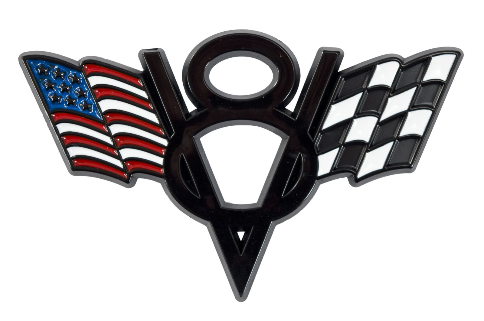 Ford Mustang American Amp Checkered Flags V8 Black Fender