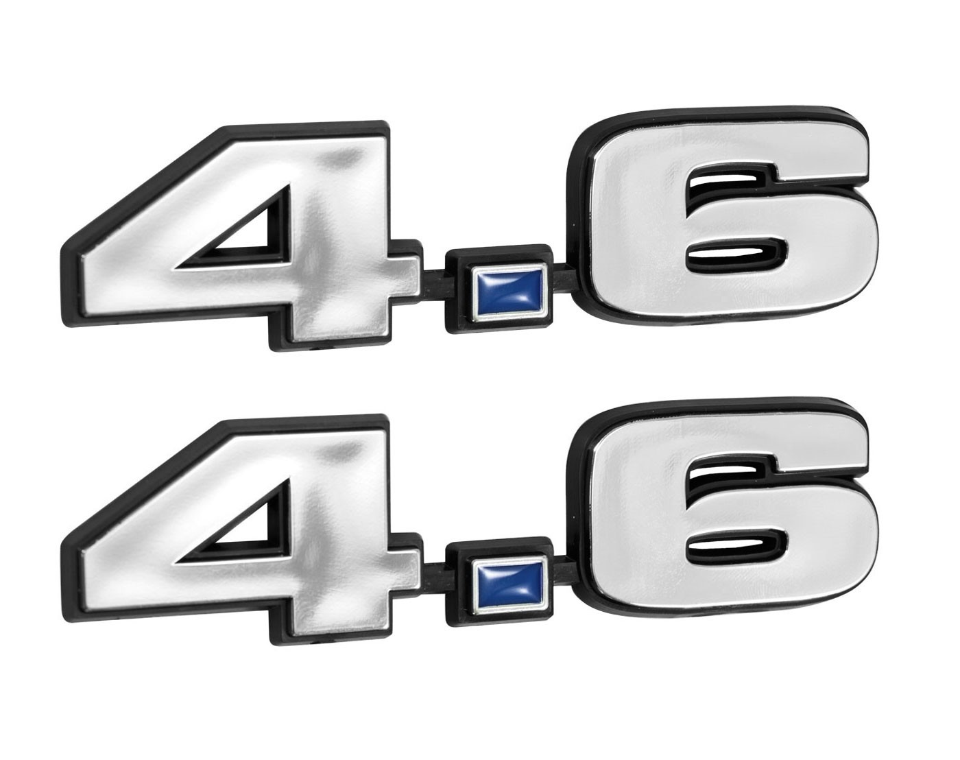 Ford Mustang 4.6 281 Engine Emblems Chrome & Blue 4.75 x 1.25 - Pair