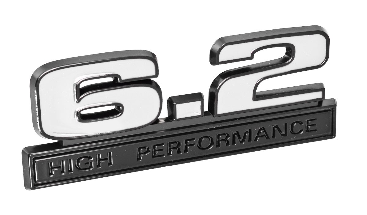 "Ford Mustang White 6.2 High Performance Fender Emblem w/ Black Trim 5"" x 1.75"""