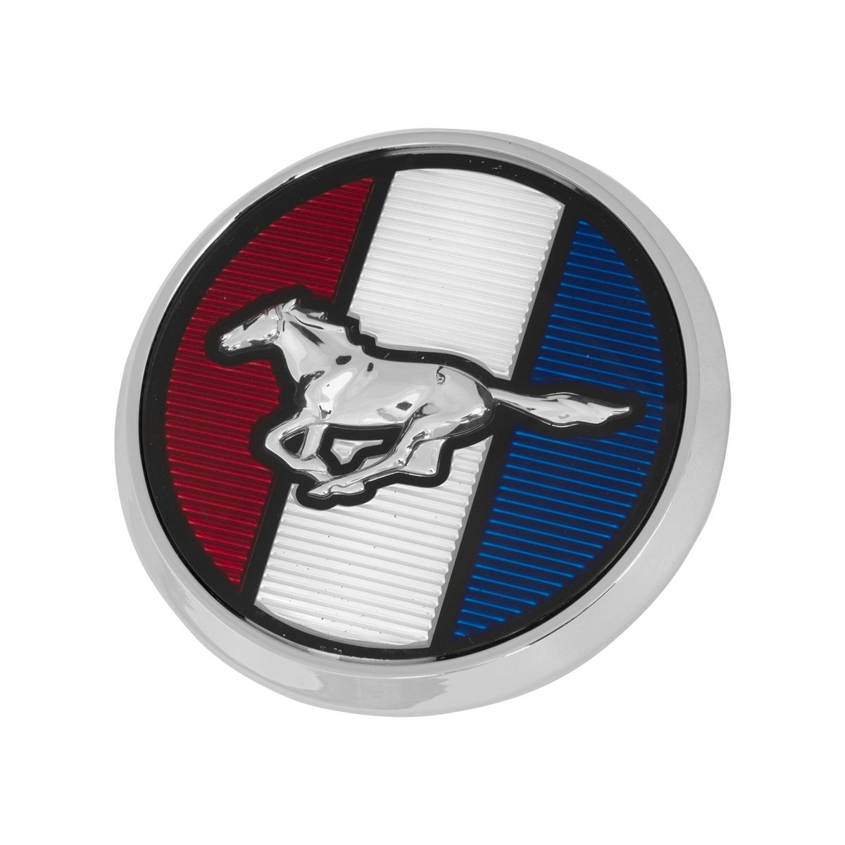"""1979-1982 Ford Mustang Front Hood Emblem Red White & Blue Running Horse 3.25"""" Round"""