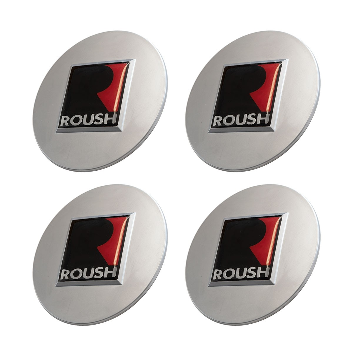 """1994-2020 Ford Mustang 2.5"""" Roush R Silver Wheel Center Caps Set of 4"""