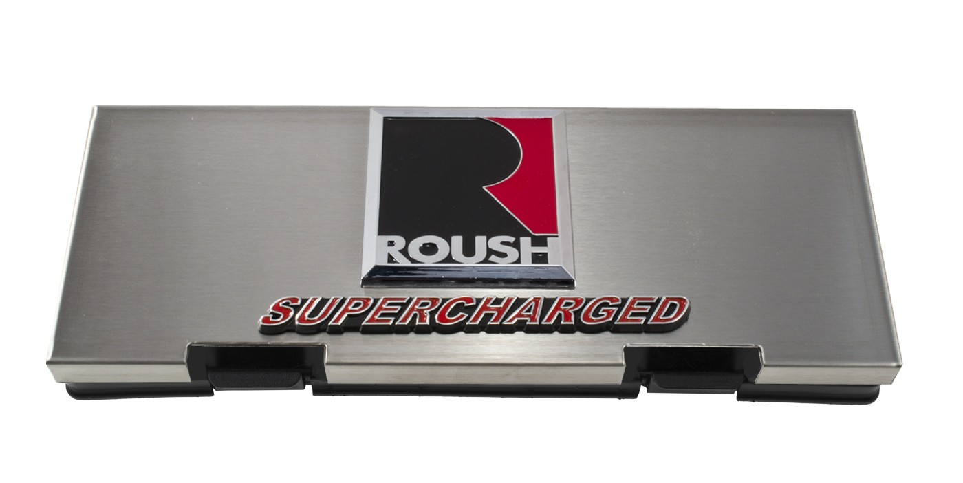 2010-2014 Ford F150 Raptor Brushed Fuse Box Cover w/ Roush & Supercharged  Emblem - Engine Compartment - Ford Truck
