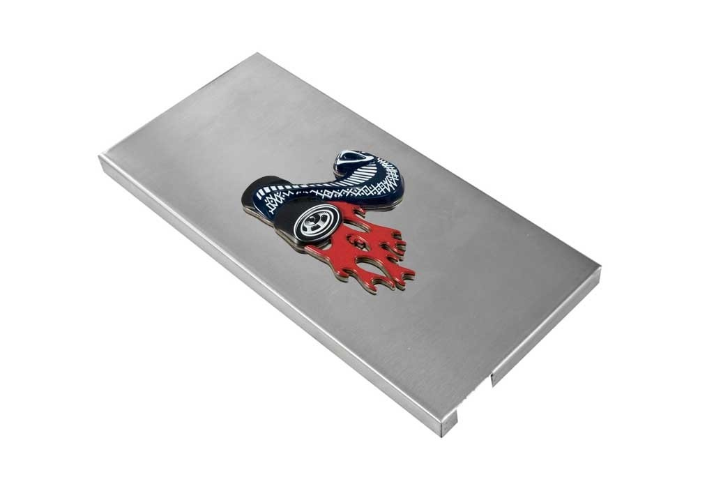 2005-2009 Mustang Shelby Brushed Stainless Fuse Box Cover w/ Cobra Jet Emblem