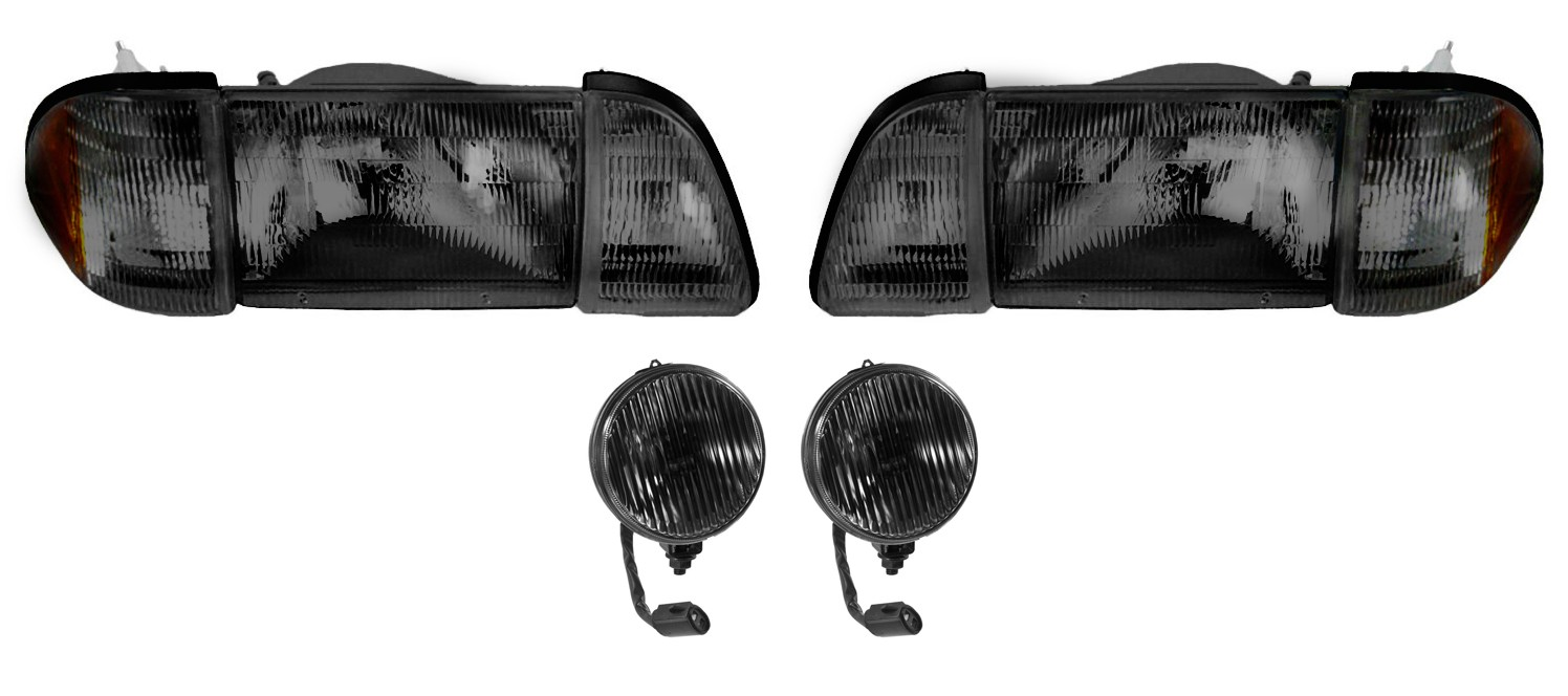 1987-1993 Ford Mustang GT Stock Smoked Headlights w/ Amber Sides & Fog Lights