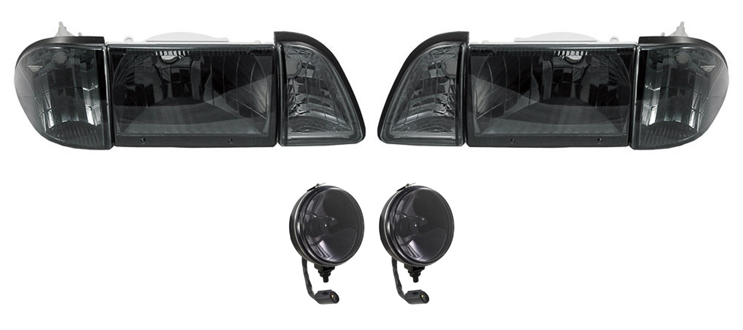 1987-1993 Ford Mustang GT Euro Smoked Headlights w/ Amber Sides & Fog Lights