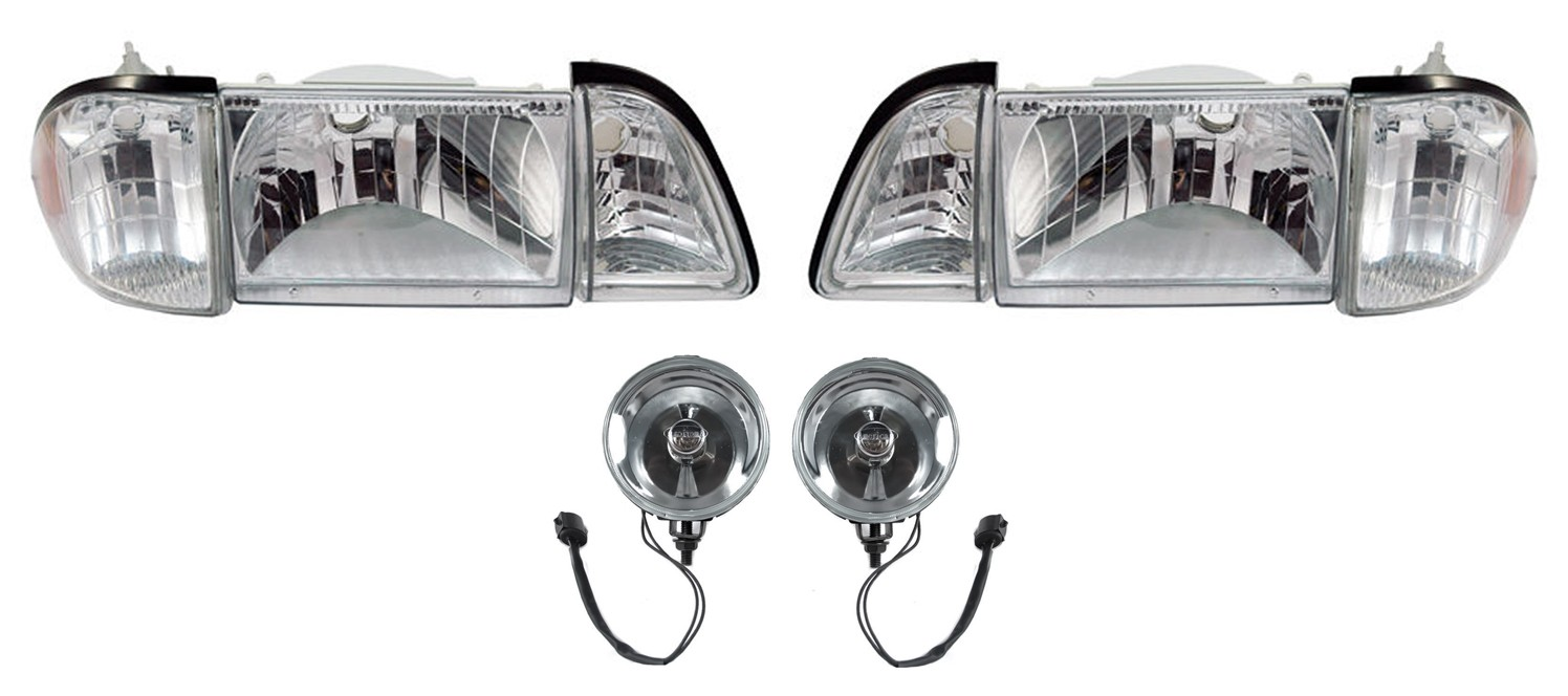 1987-1993 Ford Mustang GT Euro Clear Headlights w/ Amber Sides & Fog Lights