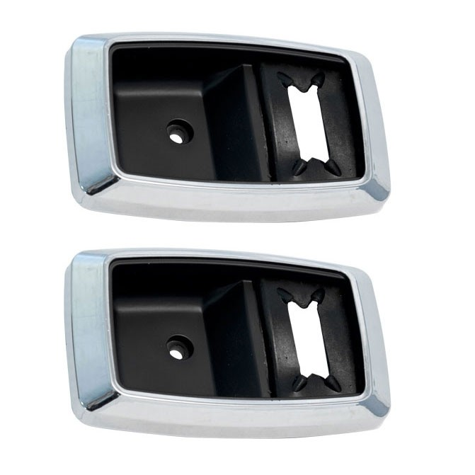 1979-1993 Ford Mustang Chrome Inside Interior Door Handle Pull Trim Bezels Pair