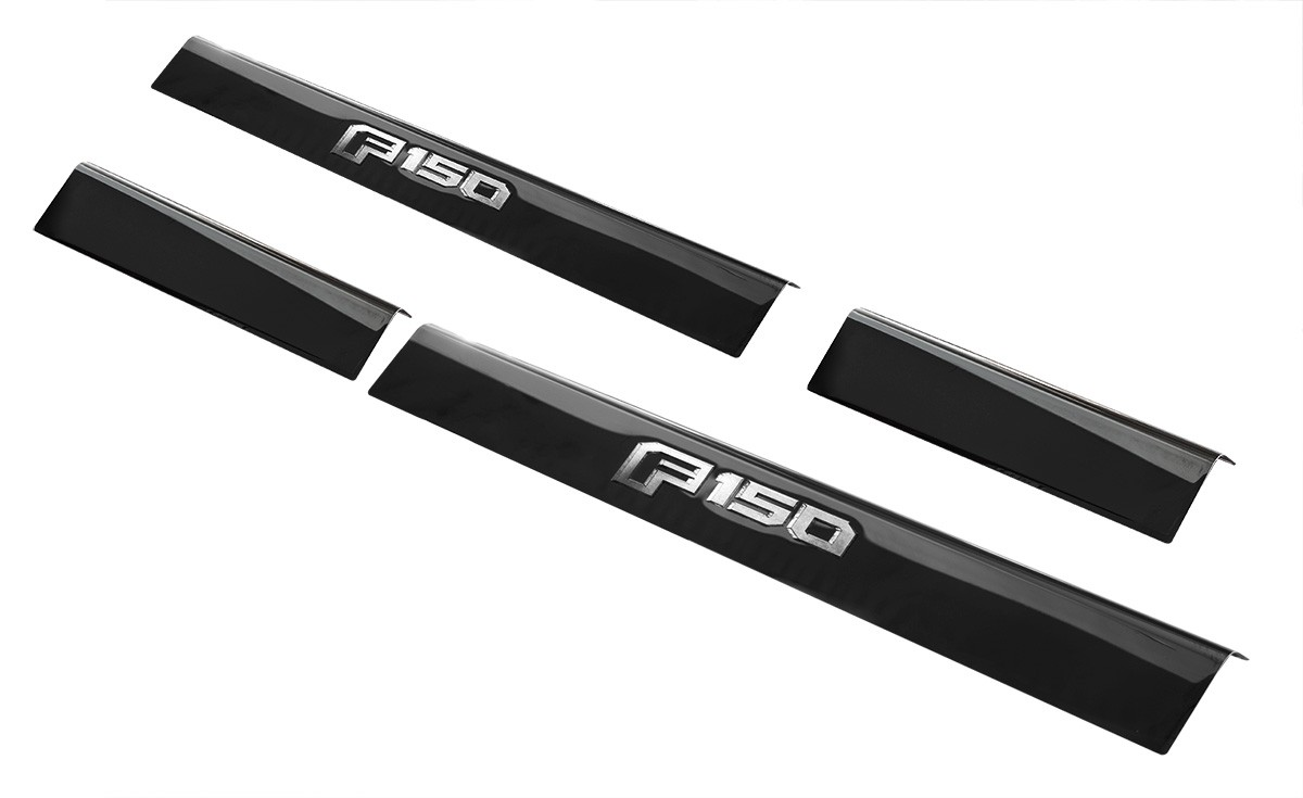 2015-2020 F-150 Genuine Ford OEM Bottom Door Step Sill Plates Black Platinum Pair