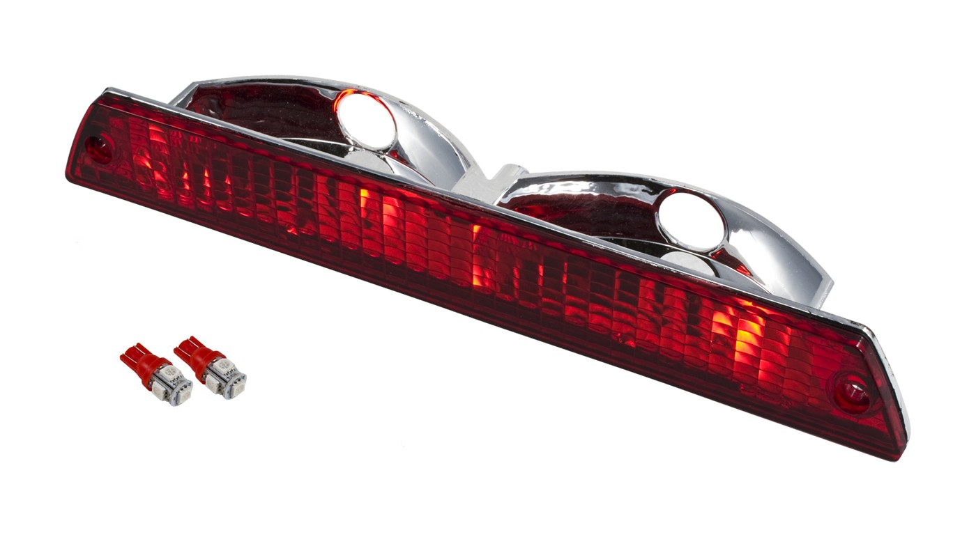 1986-1993 Mustang Convertible Rear Third 3rd Brake Light w/ RED 194 LED Bulbs