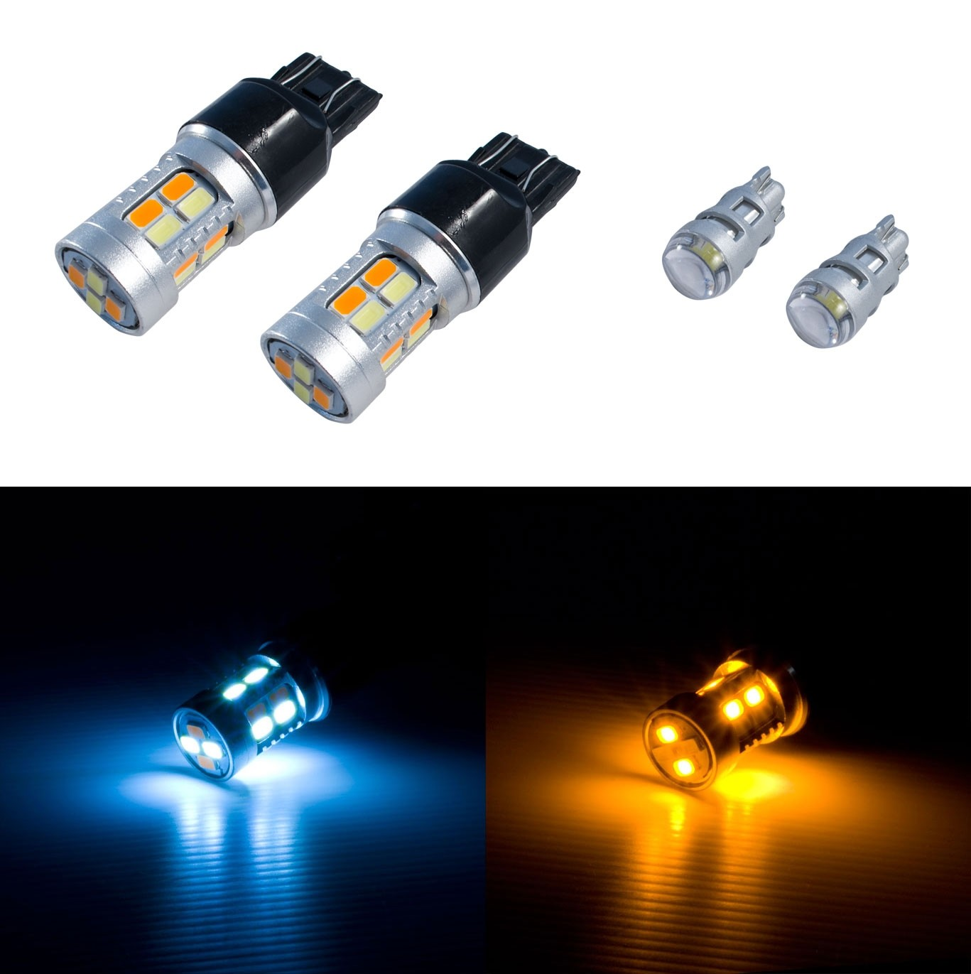 2015-2017 Ford Mustang Super Bright LED Switchback Amber/White Turn Signal Light Bulbs