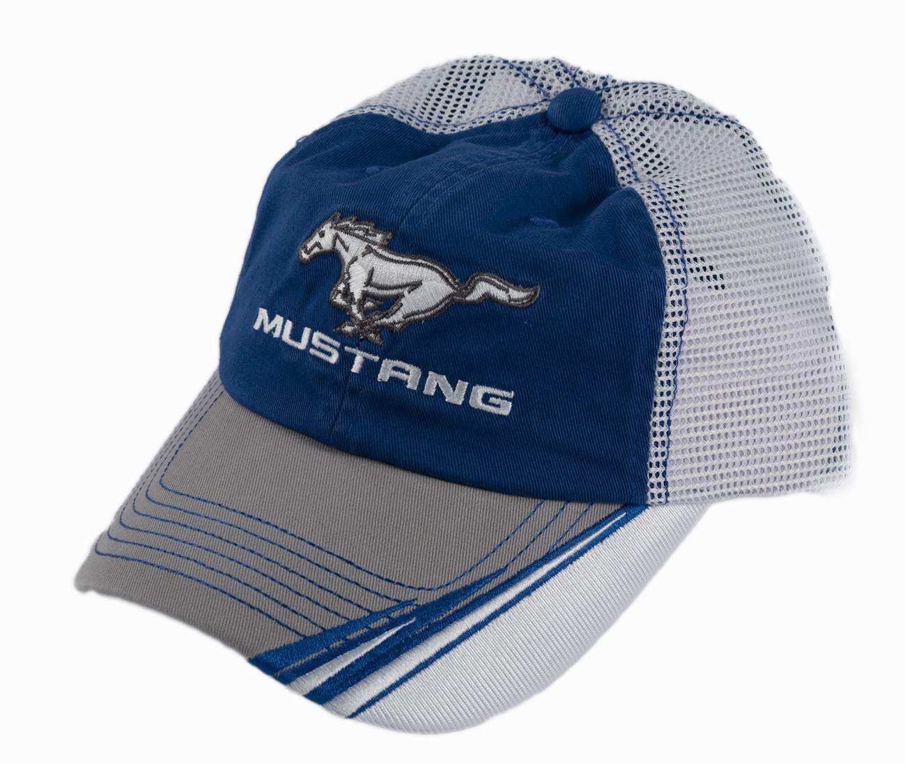 Blue & White Mustang Running Horse Pony Logo Adjustable Mesh Summer Cap Hat Cap
