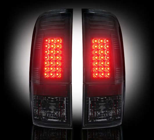"1999-2007 Ford Super Duty + 1997-2003 F-150 Straight ""Style"" Side Smoked LED Tail Lights"