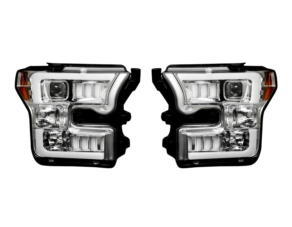 2015-2017 Ford F150 RECON Clear Lens Projector Headlights w/ LED Light Trim