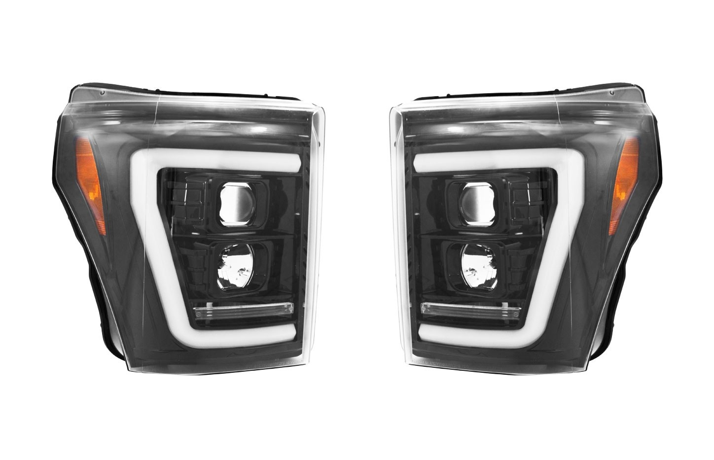 2011-2016 Ford F250 350 Super Duty RECON Smoked Black OLED Halo Scanning Turning Projector Headlights