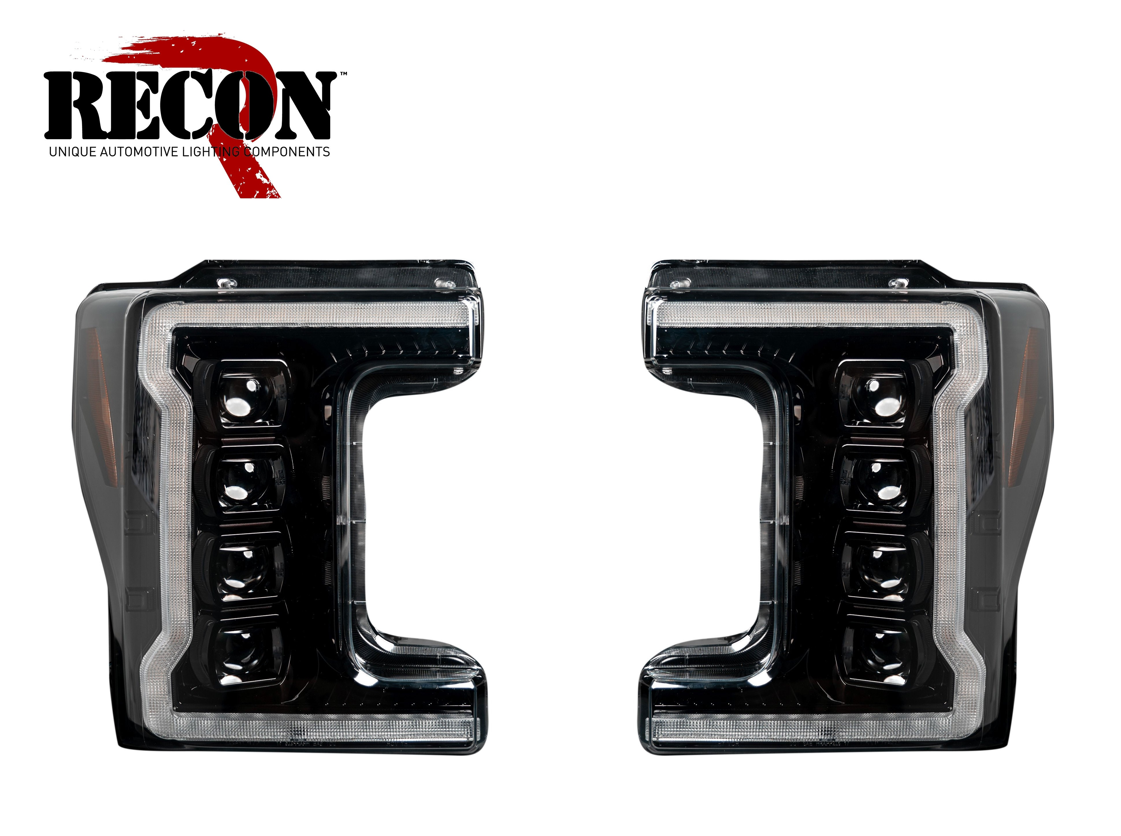 2017-2019 Ford F250 350 450 Super Duty RECON Projector OLED Headlights Smoked