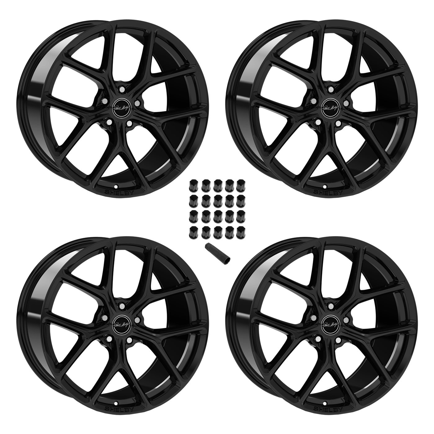 """2015-2019 Ford Mustang Shelby Staggered Black Wheels & Lug Nuts 20"""" x 11"""" & 9.5"""""""