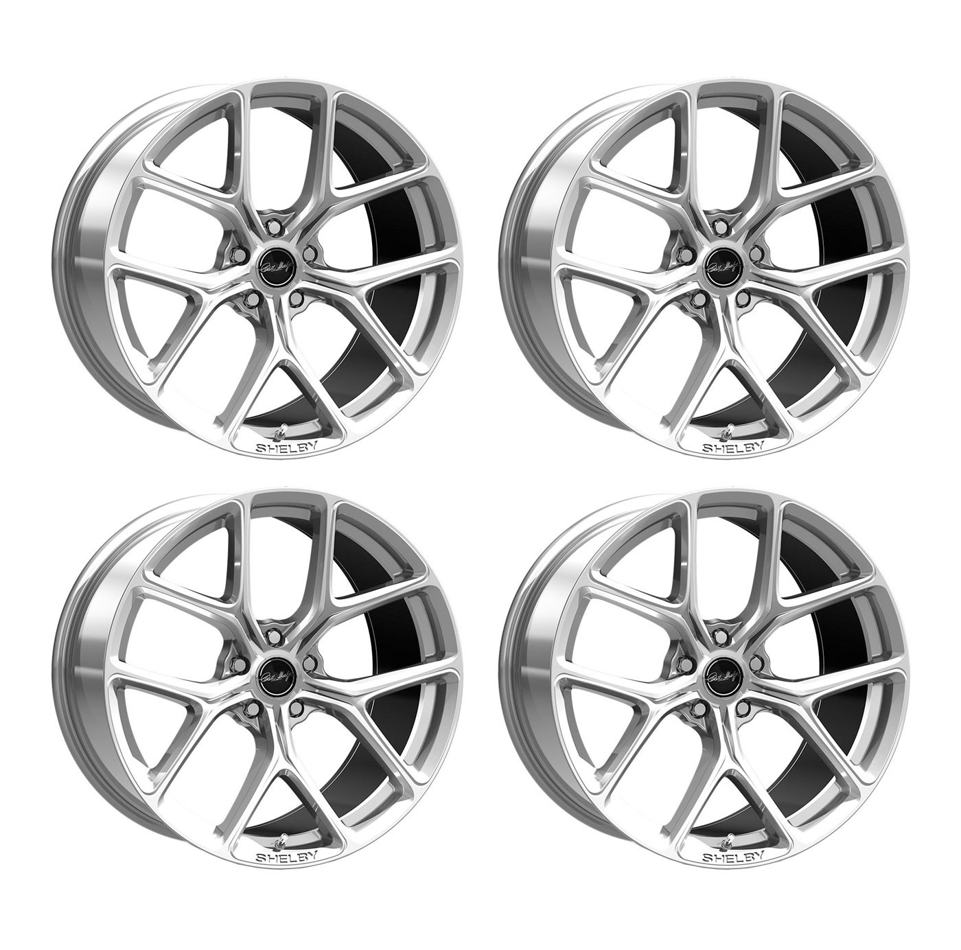 """2015-2020 Ford Mustang Shelby Staggered Bright Silver Wheels 20"""" x 11"""" & 9.5"""""""