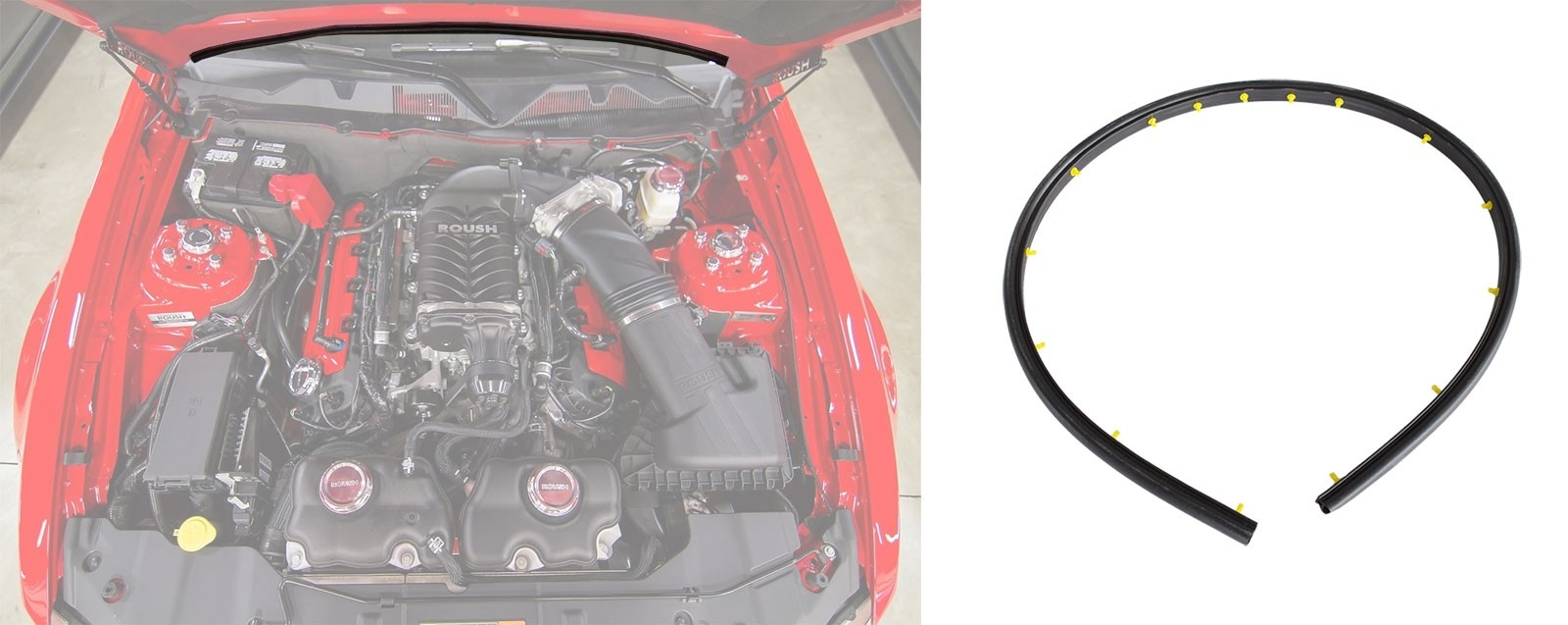 2005-2014 Ford Mustang Firewall to Hood Rubber Weatherstrip Seal w/ Plastic Retainers