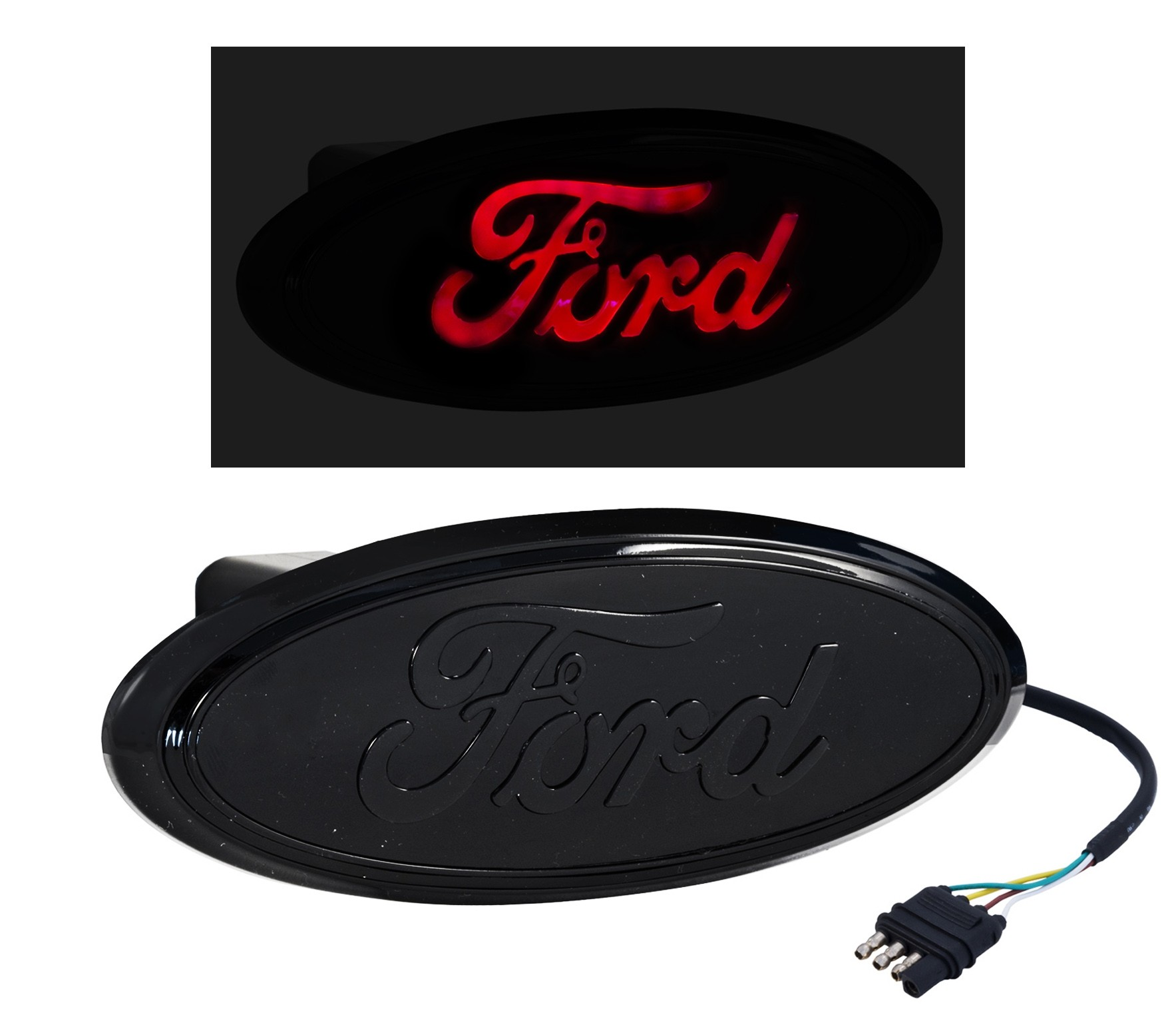 "Ford Truck Rear Tow Hook 2"" Hitch Cover LED Light Up Emblem - Black"