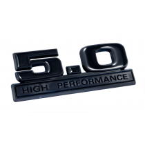 Ford Mustang Two Tone Matte & Gloss Black 5.0 High Performance Emblem