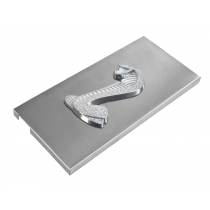 "2005-2009 Mustang Shelby Brushed Stainless Fuse Box Cover 4"" White Cobra Emblem"
