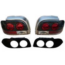 1996-1998 Ford Mustang TYC Rear Tail Lights Taillights Carbon Fiber/Paintable