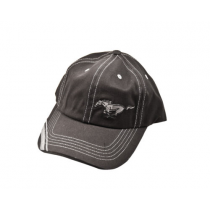 Ford Mustang Black Hat w/ Silver Running Horse Logo & Silver Brim Stripes