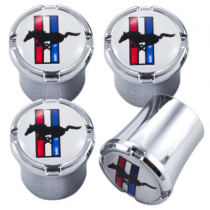 Ford Mustang White & Chrome Tribar Running Horse Logo Valve Stem Caps (4 pc)