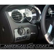 2010-2014 Mustang Brushed Stainless Headlight Switch Trim w/ Polished Ring
