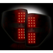 """2009-2014 Ford Raptor + F-150 Straight """"Style"""" Dark Red Smoked LED Tail Lights"""