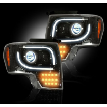 2013-2014 Ford F150 F-150 & Raptor RECON Smoked ULTRA Projector LED Headlights