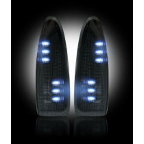 2003-2007 Ford Super Duty Smoked Side Mirror Lenses w/ White LED Lights