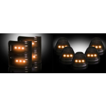 2008-2016 Ford Super Duty Smoked Side Mirror & Cab Roof Lenses w Amber LED Bulbs