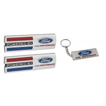 "Mustang ""Powered By Ford Performance"" 5.5"" Emblems w/ Metal Keychain Key Ring"